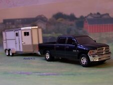 2014 DODGE RAM + TANDEM HORSE TRAILER 1/64 SCALE FARM COLLECTIBLE DIORAMA MODELS