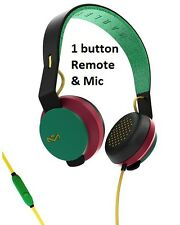 House Of Marley Roar RASTA Wired On-Ear Headphones 1 Button Remote & Microphone