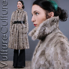Vintage 60s Silver Blue Mink Fur Mod Hippie Swing Princess Jacket Dress Coat S/M