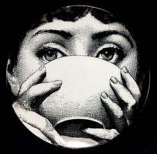 "Fornasetti 8"" Plate Reproduction Lina Art Nouveau Woman Teacup Cup"
