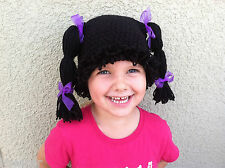 CABBAGE PATCH KID STYLE Crocheted Black WIG HAT or HALLOWEEN COSTUME 1 - 5 years