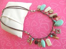 Brighton NECKLACE Imagine Earth Turquoise Semi Precious Charms Excellent retired