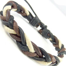 Boy's Cool Leather Braided Fashion Friendship Bracelet Brown black WB68