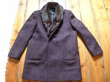 BNWOT THE KOOPLES DK PURPLE  COAT, 40, 12, REMOVABLE FUR COLLAR , D/BREASTED