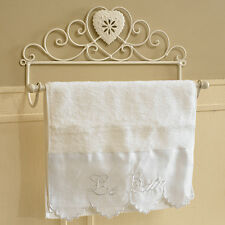 Ivory metal distressed towel rail bathroom shabby vintage chic gift home