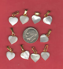10 Lovely Carved MOP Mother of Pearl Heart Pendant Charm Necklace Ready ku
