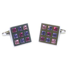 Pink, Purple & Red Crystal Silver Cufflinks With Gift Pouch Diamonds Glitter