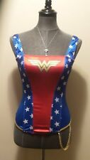 *Wonder Woman DC Comics* Wmn's M Red/Blue Wire Free Boned Costume Corset/Bustier
