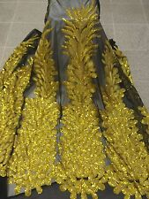 "BLACK MESH W/YELLOW PEACOCK EMBROIDERY RHINESTONE SEQUINS FABRIC 50"" WIDE 1 YD"