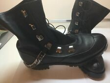 CRISTIAN LOUBOUTIN CHAIN-TRIMMED LEATHER BOOTS 2017 SHOES SIZE 37 WOMAN