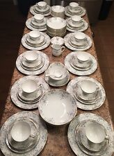 92 Pc 12 People Dish China Set Blue Floral Gold Rim Seville Imperial W Dalton