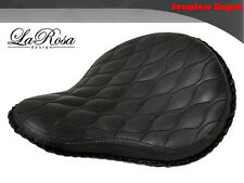 "16"" LaRosa Black Leather Hourglass Stitch Harley Bobber Rigid Custom Solo Seat"