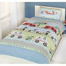 EMERGENCY VEHICLES DUVET COVER FIRE ENGINE POLICE CAR AMBULANCE NEW