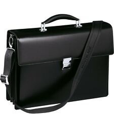 $2895 MONTBLANC MEISTERSTUCK BLACK LEATHER TRAVEL Triple Gusset LAPTOP BRIEFCASE
