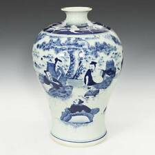 CHINESE BLUE AND WHITE MEIPING VASE GLAZED PORCELAIN KANGXI MARK POTTERY CHINA