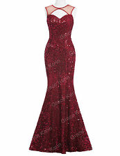 Sequin Red Mermaid Long Evening Gown Dress Party Bridesmaid Formal Prom Dresses