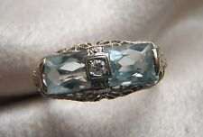 FABULOUS 14K WHITE GOLD ANTIQUE DOUBLE AQUAMARINE DIAMOND FILIGREE RING SZ 8 1/4