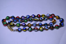 VINTAGE ITALIAN VENETIAN MILLEFIORI 8 MM BEAD NECKLACE - 19.75 INCHES LONG