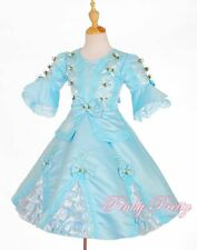 Blue Vintage Victorian Dress Party Fancy Costume Child Girl Kid Age 3y-4y VD002