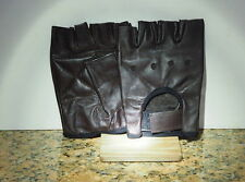 BLACK LEATHER FINGERLESS GLOVES - EXTRA SMALL