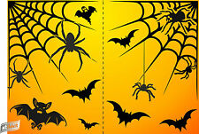 Halloween Party Window Stickers Bats Spiders 2 Web Net REUSABLE SELF CLING Decor
