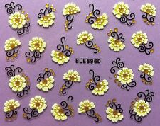 Nail Art 3D Decal Stickers Pale Yellow Flowers with Gold Embellishments BLE696D