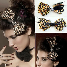Cute Leopard Animal Cat Print Hair Bow Clip Black Feathers Rhinestones Barrette