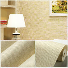 New Home Decoration Linen Texture Non-Woven Plain Wallpaper Roll Living Room