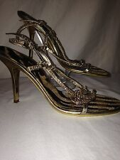 ROBERTO CAVALLI GOLD & CRYSTAL STRAPPY HEELS SHOE SIZE EU 39 US 9 STUNNING!