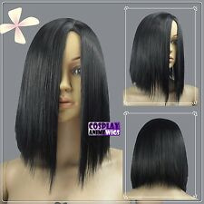35cm Black Heat Styleable No Bang Short Cosplay Wigs 97_001