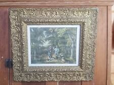 Antique Gesso Decorated Gold Painted Victorian Picture Frame Hunting Lithograph