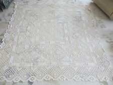 """VINTAGE/ANTIQUE ITALIAN FILET LACE HAND MADE TABLE CLOTH 63"""" X 66"""" LOVELY"""