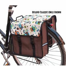 Bicycle Double Pannier Bag Water Resistant Bike Cycle Design Brown Owls Rear New