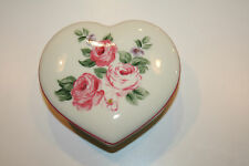 VINTAGE HEART SHAPED PORCELAIN JEWELRY BOX W/ ROSES