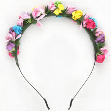 Color Flower Crown Festival Headband Wedding Garland Floral Hairband Accessories