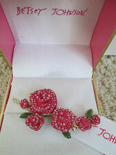 NWT Auth Betsey Johnson Pink Rose Flower Branch Statement Adjustable Ring w/ Box