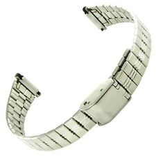 12-16mm Hirsch Silver Tone Ladies Straight End Watch Band Adjustable Metal Clasp