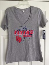 DAYTON FLYERS UD BASKETBALL MISSES GRAY V NECK T SHIRT TOP SIZE L NWT