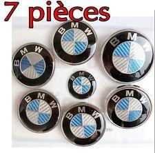 KIT 7 Badge LOGO Embleme BMW Carbone Bleu Capot + Coffre +Volant + 4 Cache Jante