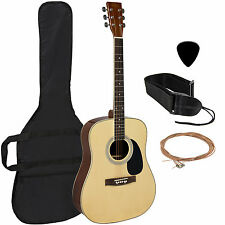 "Acoustic Guitar 41"" Full Size Natural Includes Guitar Case, Strap and More"
