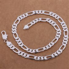Fashion 925 Sterling silver Plated 6MM solid men Chain Necklace jewelry Pop
