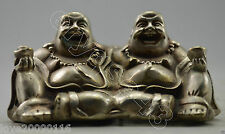 Collectible Decorated Old Handwork Miao Silver Carved Two Buddha Lucky Statue