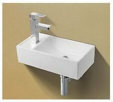 Basin Sink Wall Mounted Left Hand Square Small Mini Cloakroom Bathroom 41x21cm