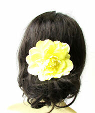 Large Yellow Dahlia Flower Hair Comb Bridesmaid Big Rose Rockabilly 1950s 1730