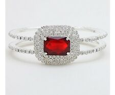 Beautiful Red Silver Cuff Crystal Rhinestone Wedding Hinged Bangle Bracelet