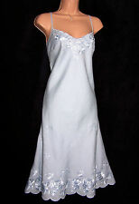 NWT LAURA ASHLEY SILKY EMBROIDERED BLUE LINEN SUMMER ELEGANT OCCASION DRESS 18UK