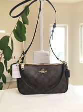 Coach Signature Top Handle Pouch Crossbody Bag - Brown/Black F58321 NWT