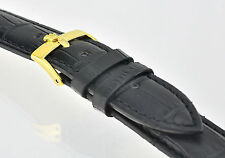 Mens 19mm Black Leather Watch Strap Gold Plated Stainless Steel Buckle For ROLEX