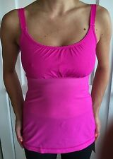 Lululemon Size 4 Pow Pink Hot And Sweaty Yoga Tank Top Bra Cinch EUC Swiftly