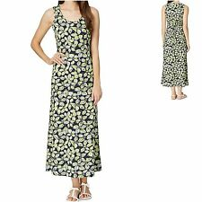 Debenhams sz 10 Sleeveless Maxi Vest Dress Cotton Jersey Floral Black Yellow New